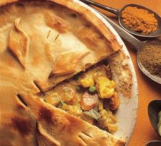 Curry Vegetable Pie recipe. A pie to please everyone, a spicy kick makes this vegetable pie a tasty choice This is a BBC recipe; if you are American, you will have to make appropriate measurement conversions. Courgette = zucchini