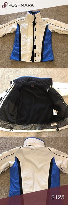 Stryke by Spyder Ladies Ski Jacket Sz 4 EUC worn on 2 ski trips.  Ladies Sz 4.  Inner fleece liner jacket zips out and there's a hood under the collar that zips out as well.  Waterproof and very warm! Spyder Jackets & Coats