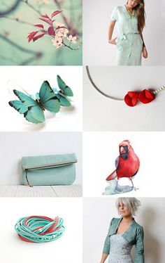 spring power in mint and red -- Pinned with TreasuryPin.com