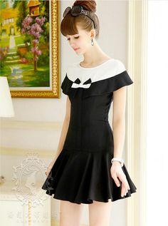 Dabuwawa - Bow-Accent Contrast-Color Ruffle Dress #bowaccent #contrastcolor #ruffle #dress