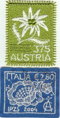 Broderade frimärken Embroided stamps