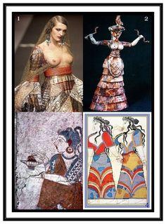 The Minoan Snake Goddess and her Worshippers. Minoan collage worshipping the Snake Goddess Minoan Priestess (modern representation) Minoan Snake Goddess Minoan worshipper with incense box Procession of Mycenaean women (Pylos) Creta, Ancient Art, Ancient History, Ancient Greek Clothing, Minoan Art, Snake Goddess, Magick Book, Mycenaean, Greek Art