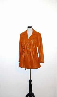 Vintage Coat Leather with Belt by CheekyVintageCloset on Etsy, $54.00