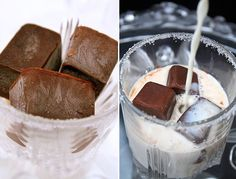 Chocolate ice cubes, vanilla milk, and maybe a little flavored vodka and or kahlua.