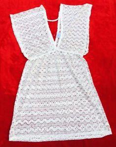 Elif For Jordan Taylor Crochet Ivory Cover Up Dress MSRP $68 Large NEW