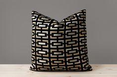 Geometric Black Velvet Pillow Cover Black and Gold Pillows