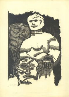Woodblock Print by Ruben Pepe Limited Edition by CarambasVintage