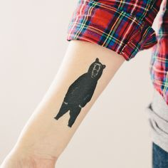 Bear temporary tattoo.