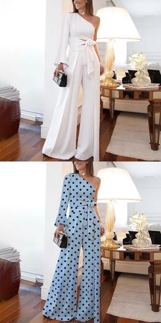 Women's fashion outfits, various style&color for you, free shipping on order $59+, shop now! #women #jumpsuit #white #blue Look Fashion, Fashion Outfits, Womens Fashion, Petite Outfits, Cute Outfits, Maxi Dress With Sleeves, Short Sleeve Dresses, Online Fashion Stores, Jumpsuits For Women