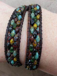Double Leather Wrap Bracelet with Rainforest Picasso Cobblestone Super Duo Mix - Sold