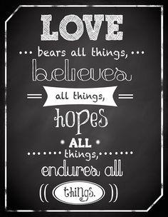 Love Bears All Things Chalkboard