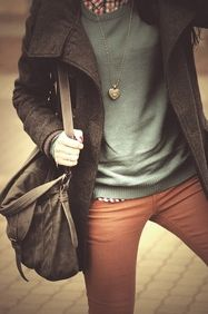 Copper Pants, Green Sweater