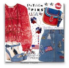 """""""Patches and Pins Star Spangled Pride"""" by octobermaze ❤ liked on Polyvore featuring Etro, Marc Jacobs, Jimmy Choo and patchesandpins"""