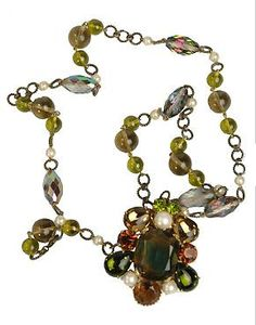 1950s French Costume Jewelry Byzantine Inspired Necklace & Convertible Brooch