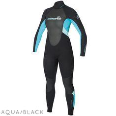 Ladies C-skins Element 3/2mm Wetsuit | Black/Aqua Front