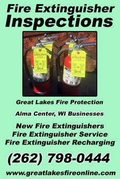 Fire Extinguisher Inspections Alma Center, WI (262) 798-0444 We're Great Lakes Fire Protection. Call Today and Discover the Complete Source for all Your Fire Protection!
