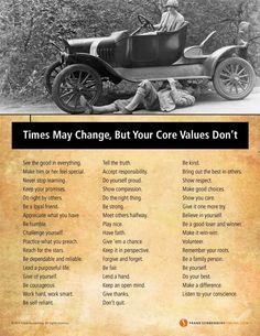 Times May Change, But Your Core Values Don't | Values to Live By | www.FrankSonnenbergonline.com