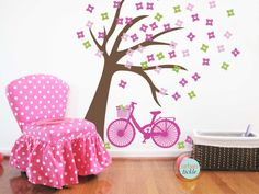 Tree Decal for Nursery or Playroom BICYCLE TREE 58X53 Inches, Nursery Artwork, flowers, Wall Stickers, Baby Gift