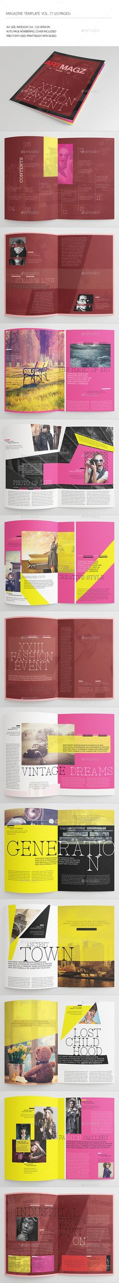 25 Pages Creative Magazine Vol77 by -BeCreative-  25 Pages Creative Magazine Vol77: This item consist of 25 pages that fully editable and customizable.Detail :25 pages Size A4 (8.