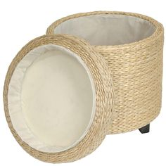 Rush Grass Storage Footstool - OrientalFurniture.com