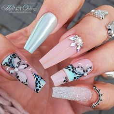 Aycrlic Nails, Glam Nails, Bling Nails, Matte Nails, Beauty Nails, Hair And Nails, Coffin Nails, Fabulous Nails, Gorgeous Nails