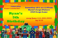 Printable Lego theme Avengers Justice League by KandKCardz on Etsy, $4.99