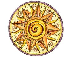 Be Warm Summer Mandala 8x10 Matted Print Sun by IlenePriceDesign