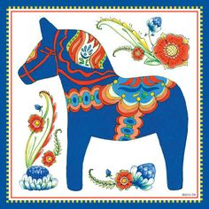 This charming magnet tile will surely brighten up your kitchen. The unique artwork on this fridge magnet tile will make for an excellent unique Scandinavian gift. This ceramic tile features the attrac Wall Tiles Design, Decorative Wall Tiles, Red Tiles, Diy Simple, Scandinavian Folk Art, Scandinavian Embroidery, Swedish Christmas, Blue Horse, Horse Art