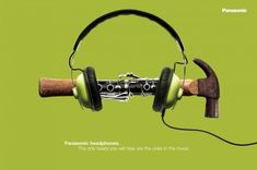 TOOL PROOF HEADPHONES. HAMMER FLUTE., Panasonic Headphones, G2, Panasonic, Print, Outdoor, Ads