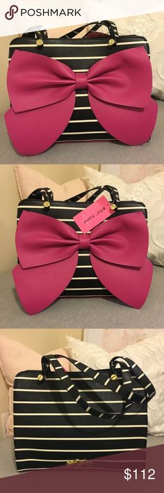 BNWT betsey Johnson satchel with pink bow BNWT black and white striped with a raspberry colored bow 🎈 fun inside and surprising raspberry details on the bottom - 8x13x5 on the inside. Is a little taller than 8 Betsey Johnson Bags Satchels