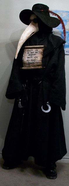 """Doctor during the plague years, an artistic depiction of their masks.    """"During the period of the Black Death and the Great Plague of London, plague doctors visited victims of the plague. A plague doctor's duties were often limited to visiting victims to verify whether they had been afflicted or not."""