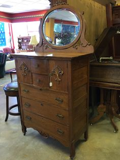Gorgeous detailed antique dresser and mirror- $599  #dresser #antique #forsale #mk #consignment #furniture #home #house #apartment #bedroom #beauty #old #design #decor