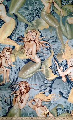 I HAVE THIS FABRIC - One (1) Yard -Sea Sirens Mermaid Print on Tea Pin Up Nudes Fabric by Alexander Henry 7825B
