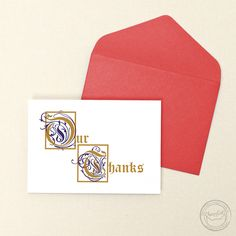 Having a medieval or renaissance themed event? You totally need these illuminated manuscript-inspired thank you cards! | Wedding Invitations by CharmCat Stationery & Design