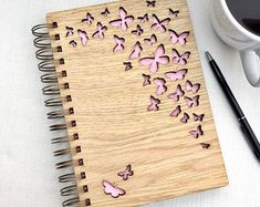 Flutter By Butterfly Wooden Notebook - different colours available - Butterflies - Recycling Logo Laser Cutter Projects, Butterfly Gifts, Diy Notebook, Wooden Gifts, Planner, Paper Cutting, Laser Engraving, Creations, Colours