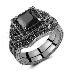 Caperci 2.0ct Black Princess Cut CZ Wedding Engagement Ring Set 14k Black Gold Plating 925 Sterling Silver Size 10