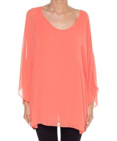 Look what I found on #zulily! Coral Sheer Cape-Sleeve Top by Coveted Clothing #zulilyfinds