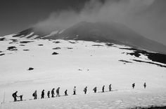 """Mt Etna Border """"A group of walkers tackling Mount Etna in Sicily - the border between active & quiet (the walkers and the volcano)"""" @Emma Mapp"""