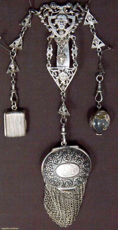 Vintage Jewelry 1920 Sterling Chatelaine Consisting Of Center Medallion With Portraits In Relief And British Touch Marks, Three Drops Consisting Of Monogrammed Mesh Purse, Globe-Shaped Watch And Small Book-Shaped Case - England Victorian Jewelry, Antique Jewelry, Vintage Jewelry, Victorian Era, Vintage Silver, Antique Silver, Beaded Purses, Beaded Bags, Victorian