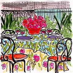 Fifi Flowers NY Terrace -- but this could be Paris !