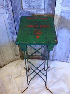 Industrial Stool, Industrial Furniture, Handmade Industrial,Kitchen Bar Stool, Antique Industrial,  Iron Legs, Green and Orange, Old Letters