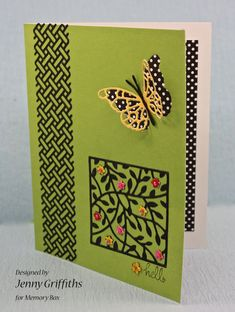 MB dies.  Wicker panel, Tremaine square with colored flowers added, cut out butterfly with black dots on the back of the front panel of the card, plus some added inside.