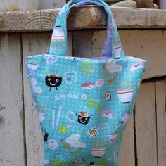 Sushi Print Bucket Bag £5.00 Conkers, Bucket Bag, Sushi, Reusable Tote Bags, October 2013, Handmade, Club, Hand Made, Pouch Bag