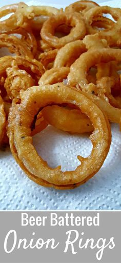 Beer Battered Onion Rings Small Batch Recipe - Deep fried to a crispy golden brown with the perfect beer batter coating over delicious sweet onion rings. This recipe makes a small batch just right for 2 to 4 people. It makes a great homemade appetizer or side dish to your favorite burger or sandwich. #beerbattered #onionrings #deepfried #smallbatch #recipefortwo #dinnerfortwo