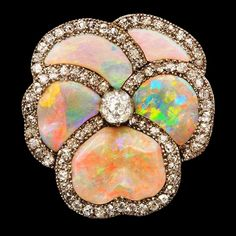 Diamond-set opal brooch, ca.1925.