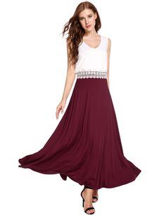 Red V-Neck Double Layers Pleated Tank Patchwork Lace Brim Casual Dress