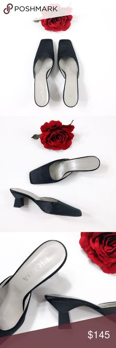 """Vtg PRADA Classic Black Satin Mules 38 Classic Prada mules in beautiful black satin. Unique architectural kitten heel.  A forever shoe that looks equally great with an LBD or ripped Levi's!  In near-mint vintage condition (9.999/10). Uppers show no flaws or snags. Soles only have minor wear. Comes from smoke-free home. Listing for shoes only.  Italian size 38. INSOLE LENGTH: about 10.5"""". OUTSOLE WIDTH: about 3.125"""". HEEL: about 2.25"""". Prada Shoes Mules & Clogs"""