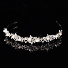 Shiny Austrian crystal imitation pearl tiaras wedding bridal flora hair bride accessory charm Flowers hairbands souvenir