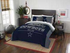 Dallas Cowboys NFL Draft Full-Queen Comforter Set. Includes full-queen comforter and 2 shams.  Visit SportsFansPlus.com for Details.