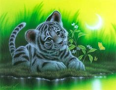 """""""The Smell of Flowers"""" White Tiger  40.9 × 31.8cm, Acrylic on canvas, 2010, Private Collection  Gallery Bigcats2 - Art of Kentaro Nishino"""